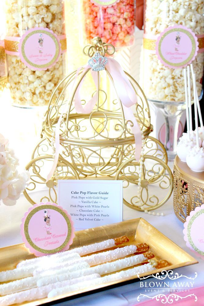 Loving the decorations and desserts at this fabulous Princess Baby shower! See more party ideas and share yours at http://CatchMyParty.com