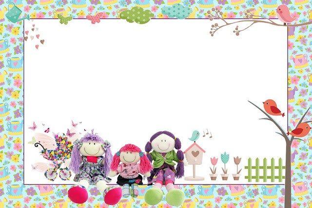 Bonecas de Pano no Jardim - Kit Completo com molduras para convites, rótulos para guloseimas, lembrancinhas e imagens!