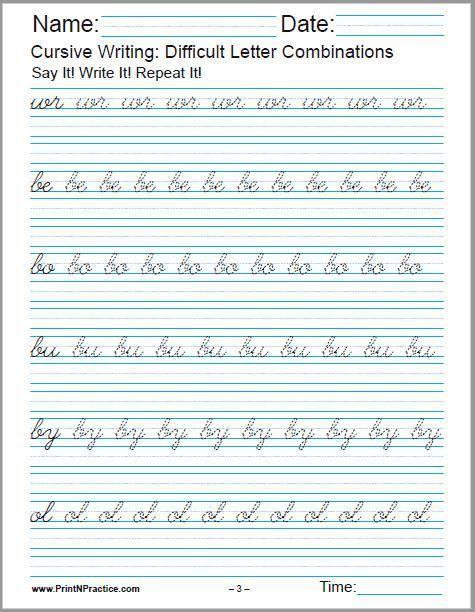 50 Cursive Writing Worksheets Alphabet Sentences Advanced In
