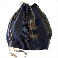 Extra Large Komebukuro Indigo Cotton Rice Bag