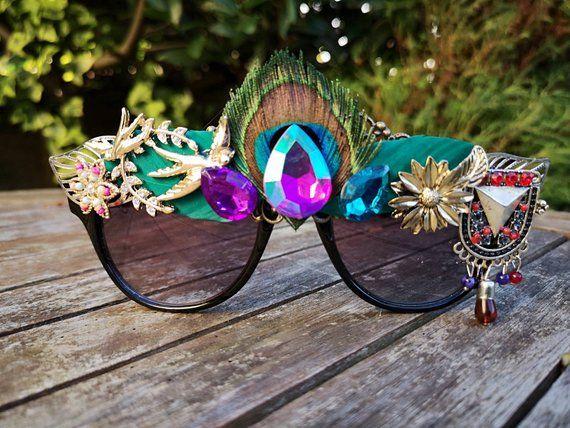 Pink and Blue Glitter lens flower fashionrave sunglasses