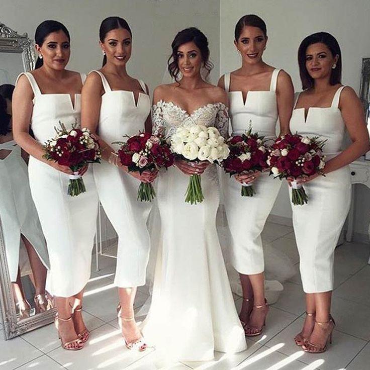 Simple Cheap Unique White Off Shoulder Straight V Neck Sexy Tea Length Bridesmaid Dresses, WG126