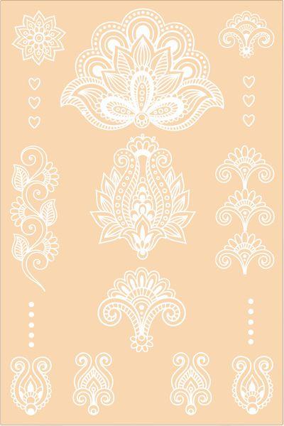 White Henna Temporary Tattoo. Hearts Set. 2 sheets