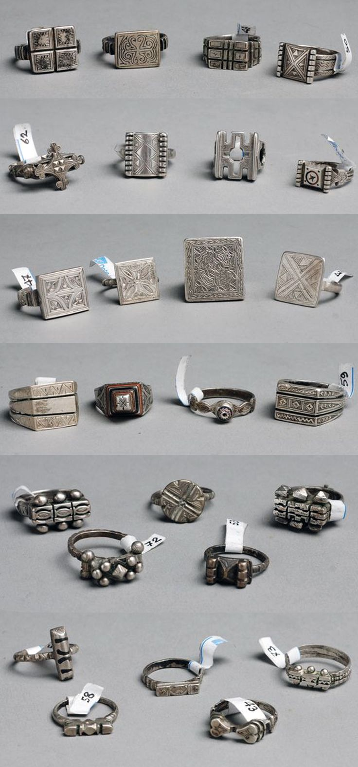 Mauritania | 26 Rings; silver | Prices top to bottom row; 65€, 70 €, 100 €, 40 €, 70 € and 45 € ~ all sold (Sept '11)