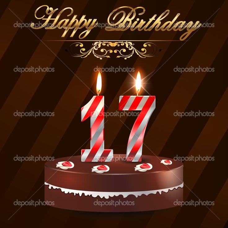 17 лет с днем рождения трудно с торт и свечи, семнадцатый день рождения - вектор eps10 — стоковая иллюстрация #48710775