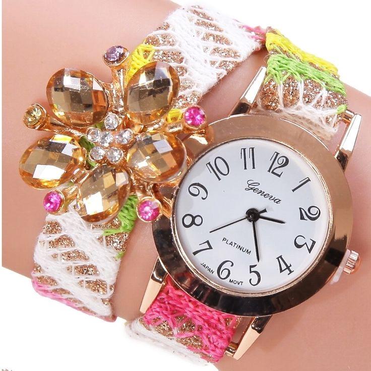 Gnova Platinum Top Fabric Bracelet Watch Crystal Flower Ribbon Geneva style Vintage Rhinestone wristwatch Reloj Dama Fashion