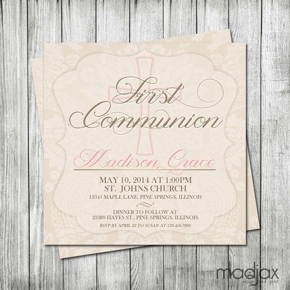 Hey, I found this really awesome Etsy listing at https://www.etsy.com/listing/187392946/first-communion-invitation-girl-first