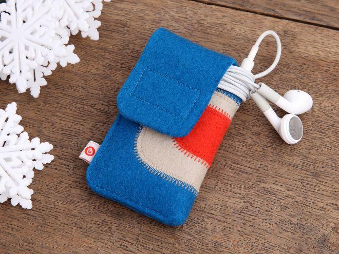 """iPod nano Tasche """"Dunkeltürkis-Beige-Hellrot"""" von blandine taschen  auf DaWanda.com"""