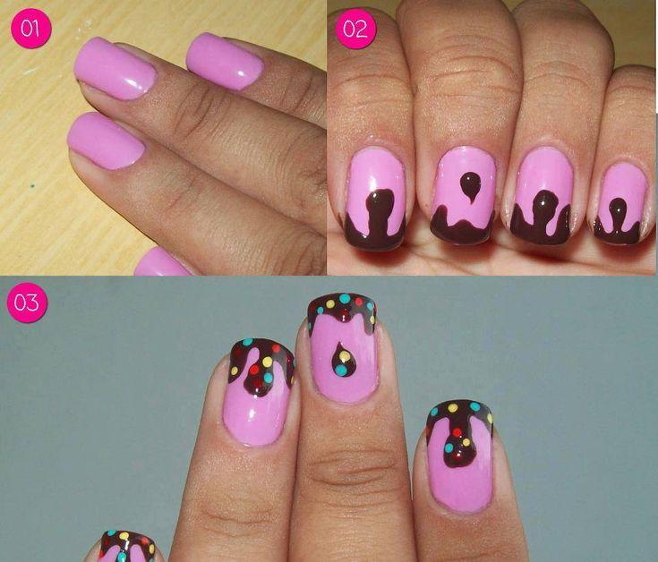 How to make lady bug( I reckon it looks more like sprinkled nuttela) nail art step by step DIY