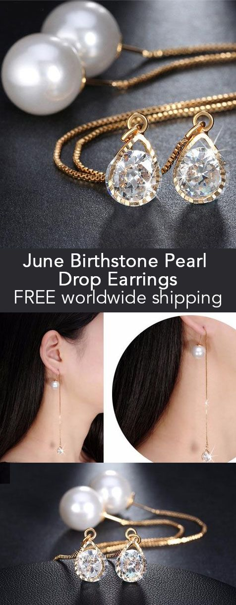 June Birthstone Pearl Drop Earrings