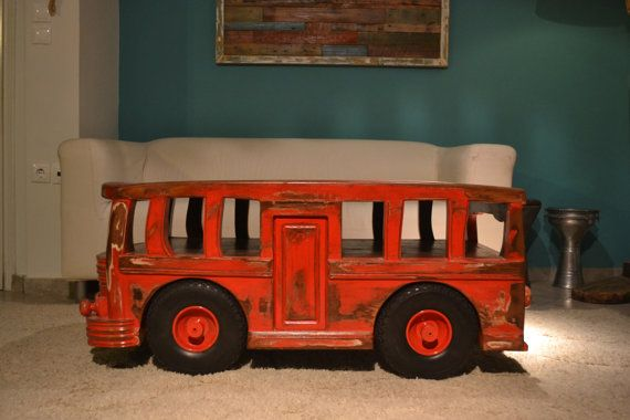 Vintage old school bus coffee table, Unique item(SAVE A TREE LINE)