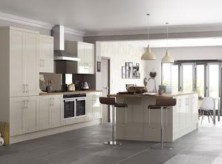 cream gloss with medium dark wood worktop, grey backgrounds and floor tiles