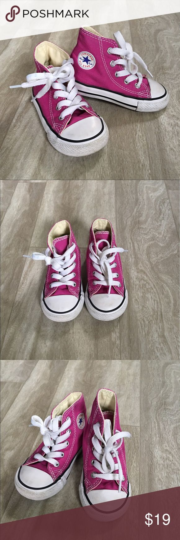 Toddler girls Converse high tops pink size 6 Toddler girls pink Converse All Star high top lace ups. Size 6. These have been worn 3 or 4 times but are basically new. I'll make sure they are wiped clean before sent. Thanks for looking!  Converse Shoes Sneakers
