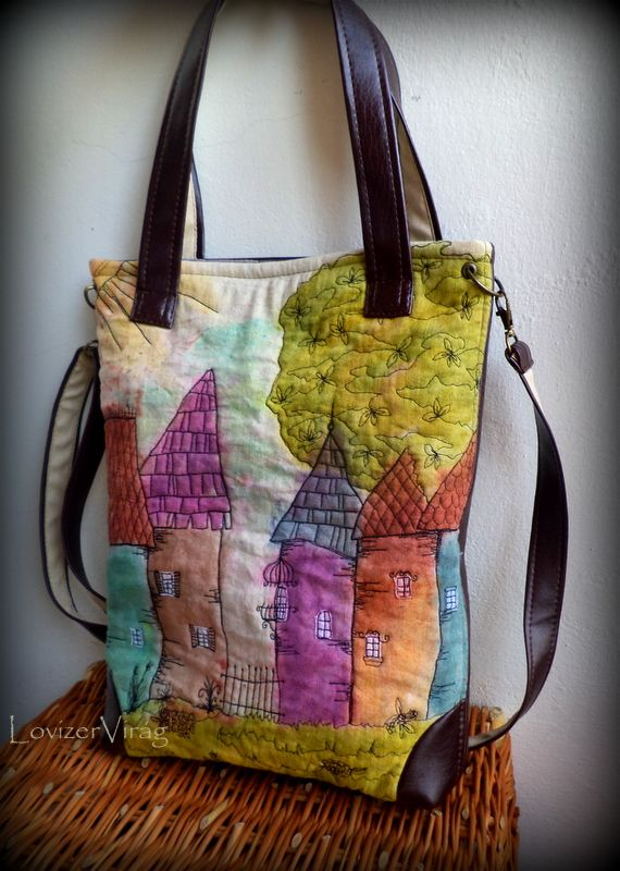 Unique handmade bag with painted and embroidered houses www.facebook.com/ZerVir
