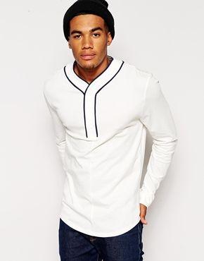 ASOS Skater Long Sleeve T-Shirt With Baseball Placket