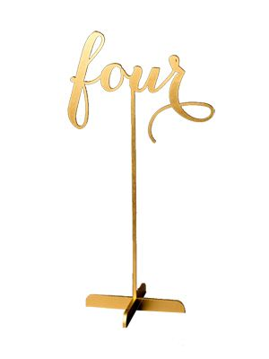 Freestanding 12 inch tall table numbers in a gold script. We have numbers 1 – 20 available. Price is per table number. The quantity available refers to the individual numbers (so we have 1 o…