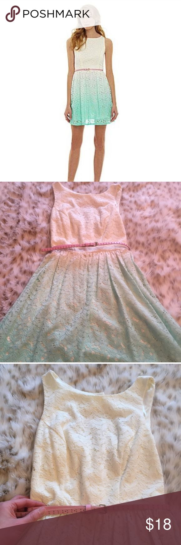 Jodi Kristopher Ombré Lace belted spring dress Jodi Kristopher Ombre lace dress! Size 1. Goes from white to blue! So cute! With a pink gold studded belt. Cut out area on upper back! So cute!  Perfect for Easter or this coming spring and summer. Jodi Kristopher Dresses Mini