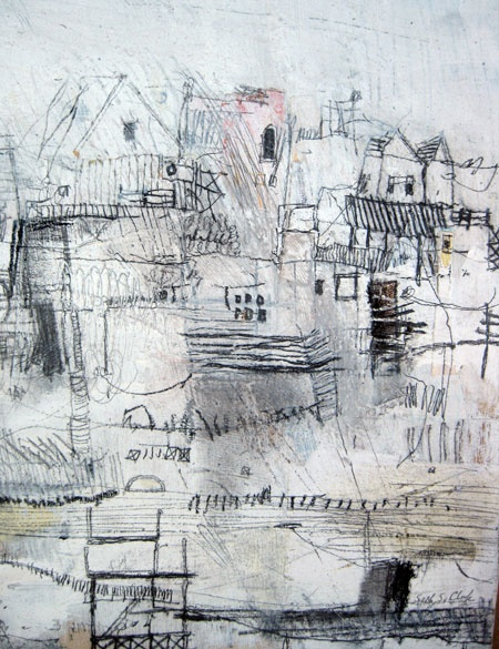 the hills : seth/clark - collage, oil, graphite, charcoal, pastel on wood