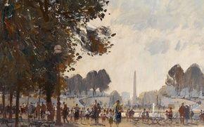Обои картина, городской пейзаж, Эдуард Сиго, Вечер. Сад Тюильри. Париж