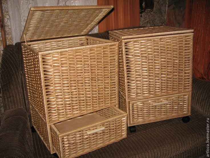 Купить Короб плетеный из лозы,для хранения(корзина,лоток,ящик) - бежевый, плетеный короб, корзина для белья