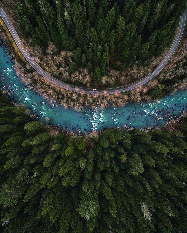 A gorgeous aerial shot of Mountain Loop Highway in Washington | Photo by @michaelmatti