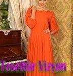 2015 Tesettür Modasında-Sonbahar Kış Renkleri portakal turuncusu abiye