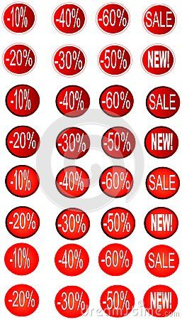 Sale icons set in red circle isolated on white vector illustration.
