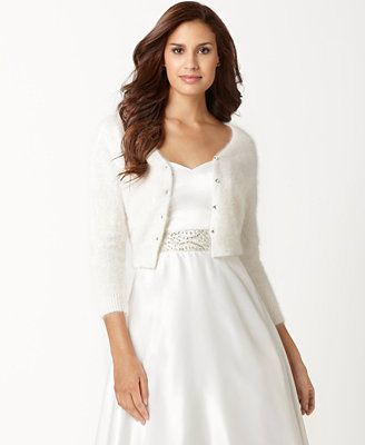 Eliza j sweater three quarter sleeve rhinestone button for Sweater over wedding dress