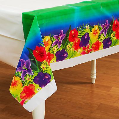 "Hibiscus Heat Hawaiian Tropical Flowers 54""x108"" Birthday Party Table Cover"