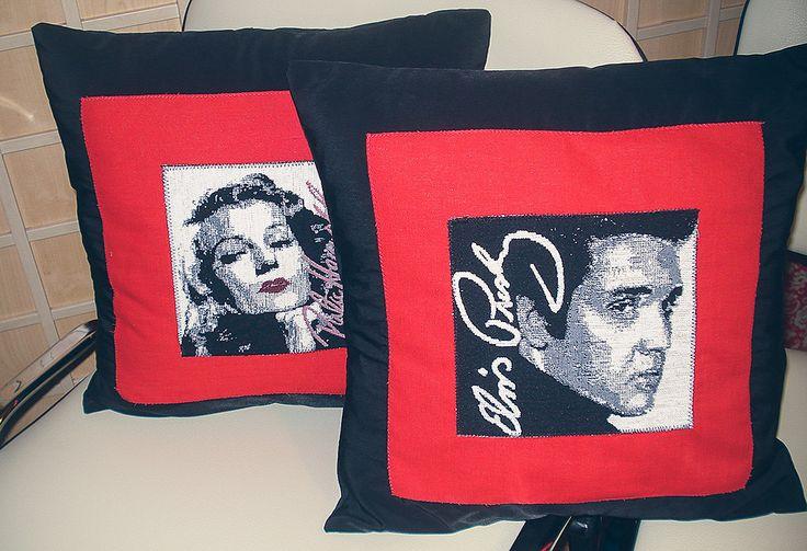 Duet Marilyn i Elvisa. #poduszki #Elvis #Marilyn #retro #handmade #tkanitka