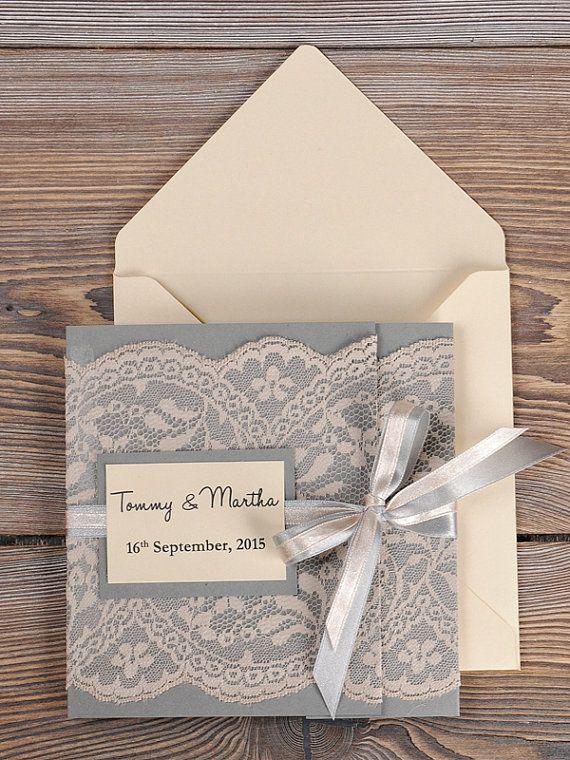 Grey and Peach Lace  Wedding Invitation, Pocket Fold Wedding Invitations , Vintage Wedding invitation