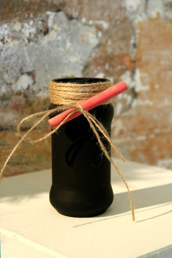 Vasetto lavagna in vetro e yuta con di CasaRetroChicItalia su Etsy