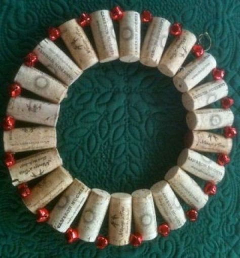 The finished wine cork wreath made from recycled corks collected by me.