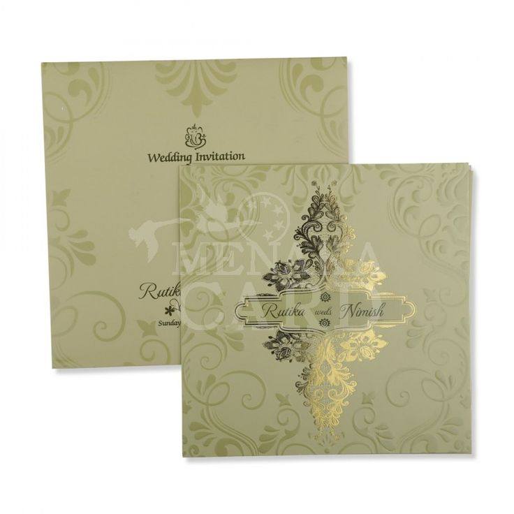 indian wedding hindu invitations%0A Pista Green Card with design in emboss and gold foil with   insert and  envelope same