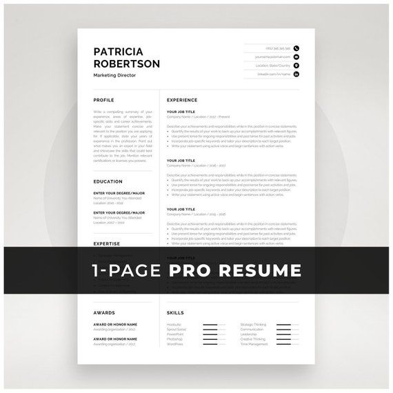Professional 1 Page Resume Template Modern One Page Cv Etsy One Page Resume Resume Template Cv Words
