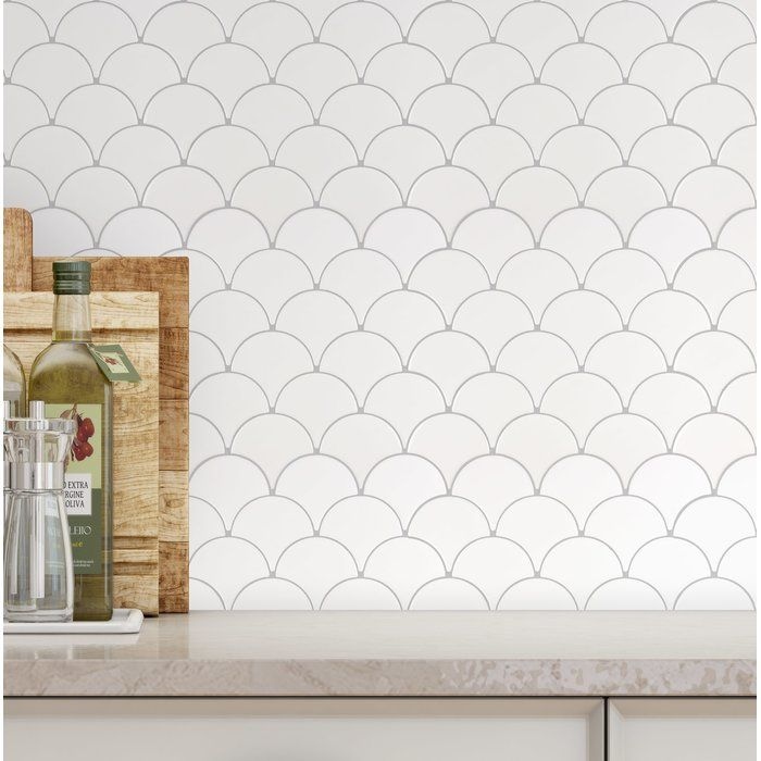 Fan Fish Scale 3 5 X 3 5 Ceramic Mosaic Tile In Glossy White Fish Scale Tile Stone Mosaic Tile Mosaic Wall Tiles