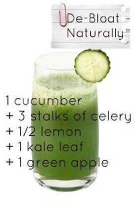 De-bloat Juice Recipe: 1 cucumber, 3 stalks celery, 1/2 lemon, 1 kale leaf, 1 green apple