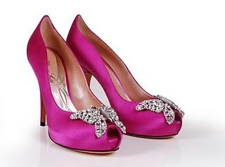 Pink Jimmy Choo butterfly bridal shoes