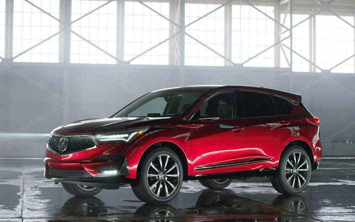 Download wallpapers Acura RDX, 4k, studio, 2019 cars, new RDX, crossovers, red RDX, Acura