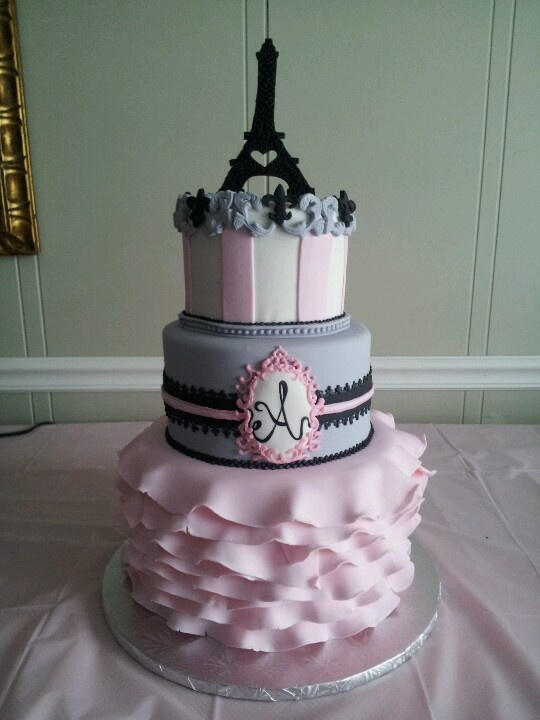 Eiffel Tower And Paris Themed Baby Shower Cake