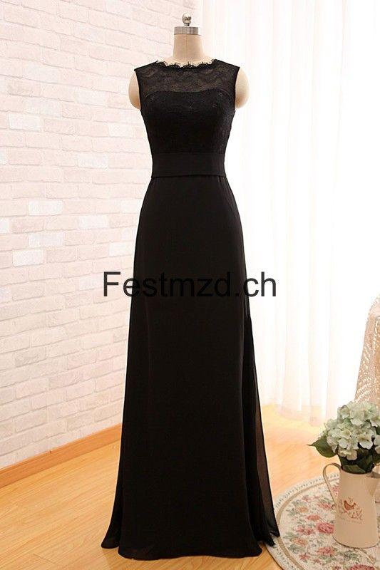 Schwarz Lange Chiffon Abendkleider