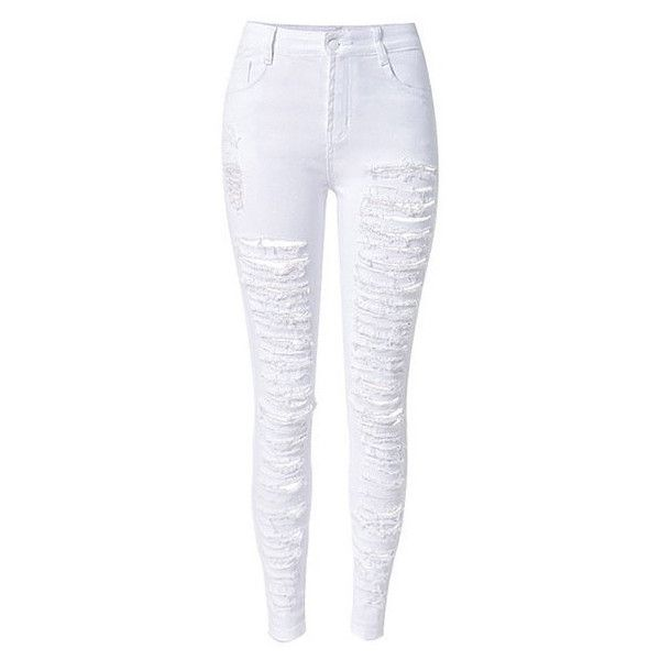 SALE! New White Destroyed Skinny Jeans (125 SAR) ❤ liked on Polyvore featuring jeans, white jeans, ripped jeans, white skinny leg jeans, stretch denim skinny jeans and destructed skinny jeans