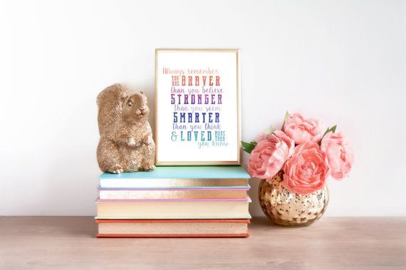 """Wall Art Printable - """"Always Remember you are Braver than you believe..."""" - home decor, nursery wall art"""