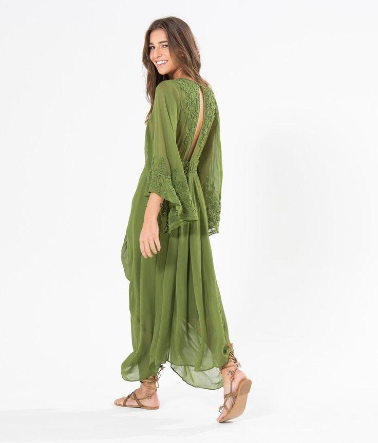 vestido pregueado manga fada