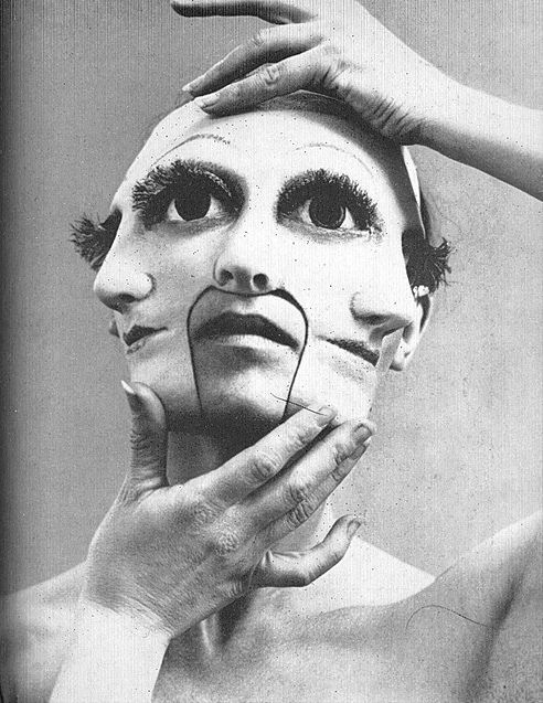 - this is an image of a performer from one of the plays of Eugène Ionesco, a Romanian/French Absurdist playwright who published work from the 1930s through the early 80s.