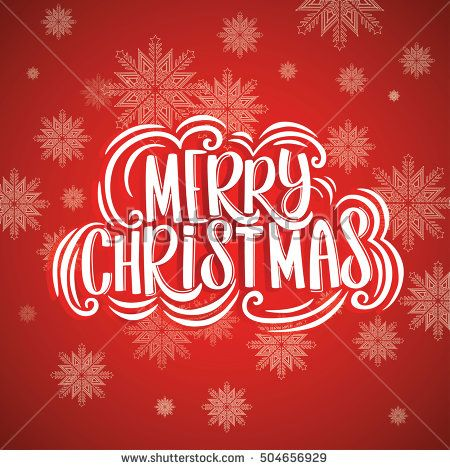 Merry Christmas greeting card lettering design red background.