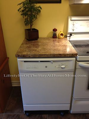 Portable dishwasher with countertop