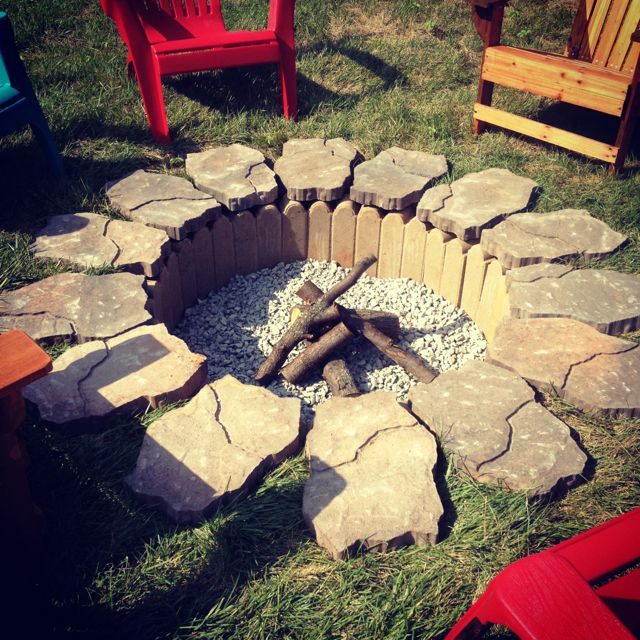 Brick wall with stone to frame the fire pit.