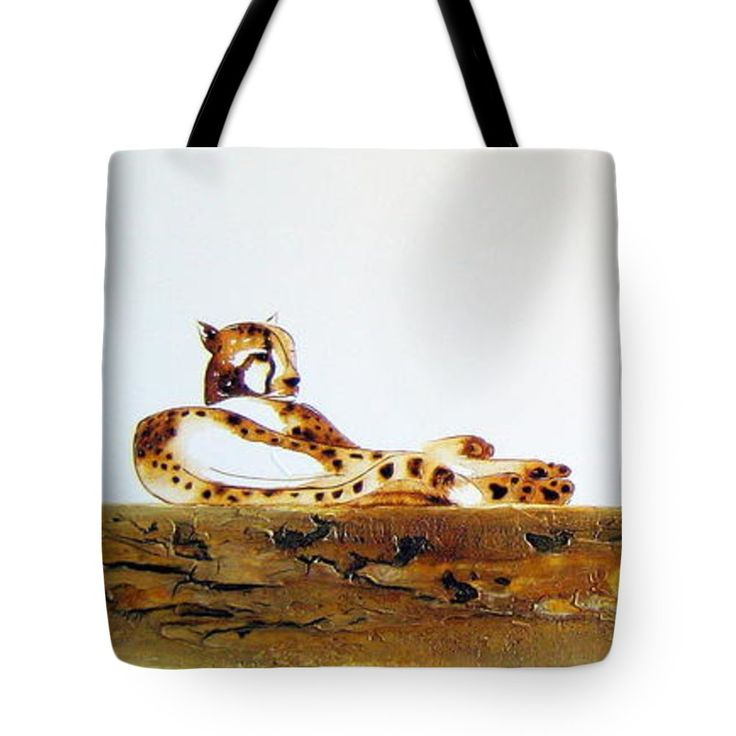 """Lazy Dayz Cheetah Tote Bag 18"""" x 18"""" by Tracey Armstrong"""