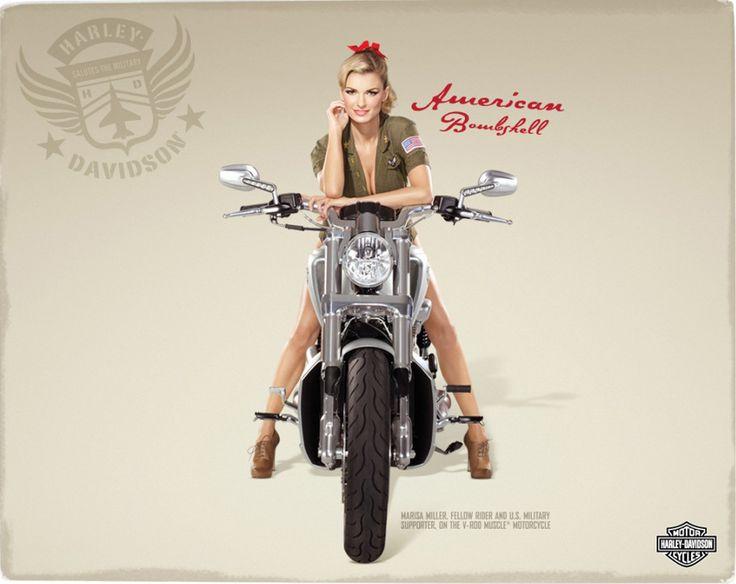 Biker Girl Post Card: Victoria Secret Model Marisa Miller Dressed in US Army Uniform on a Harley-Davidson Motorcycle: Biker Girl, Motorcycles Girls, Biker Babes, American Bombshells, Harley Davidson Motorcycles, Pinup, Marisa Miller, Harleydavidson, Pin Up Girls